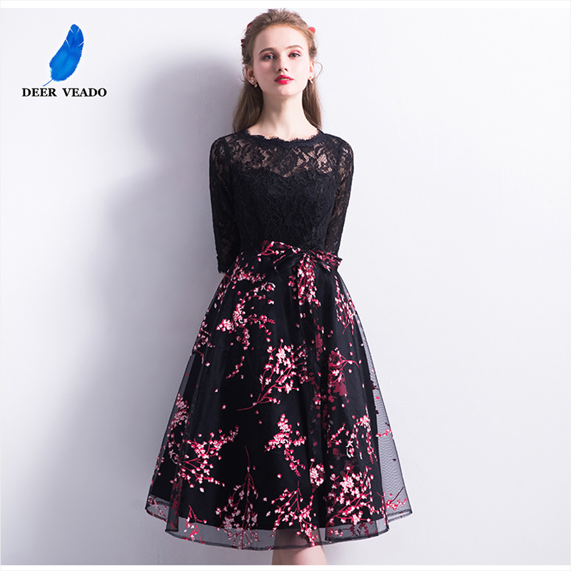 DEERVEADO Robe De Soiree 2019 New Arrival Short Lace Evening Dress with Half Sleeves Formal Dress Evening Party Gown YM308