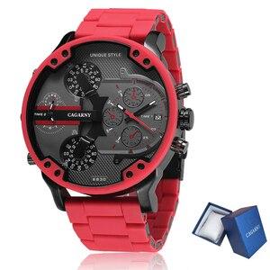Cagarny-reloj rojo con esfera grande 3D de 57mm para hombre, pulsera de acero de silicona de lujo, reloj de cuarzo, informal, militar, Masculino