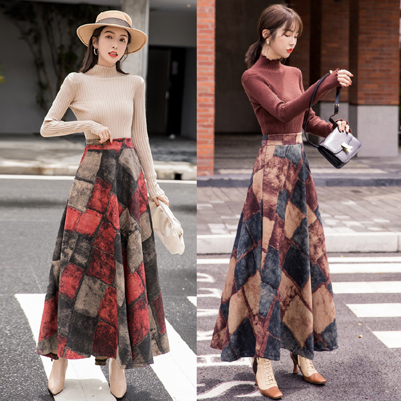 HAYBLST Brand Skirt Women 2019 New Autumn Winter Plus Size3XL Woolen Elegant Korean Style Fashion Plaid Tall Waist Long Clothing