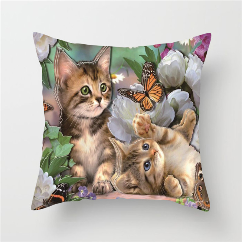 Fuwatacchi Butterfly Poppy Pillow Cover Cute Cat Printed Cushion Cover Funny Square Decorative Pillowcases for Home