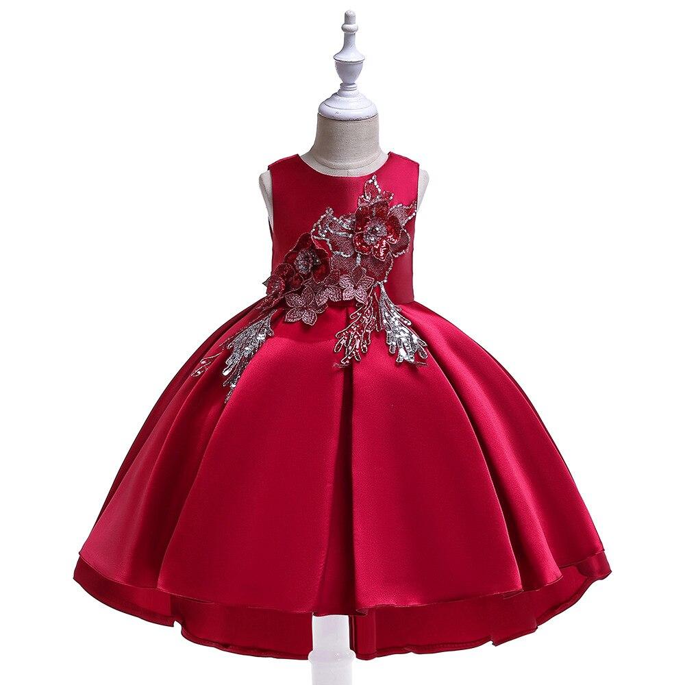 Europe And America Girls Tailing Formal Dress Twill Forging Sequin Embroidery Wedding Dress Princess Dress Children Host Catwalk