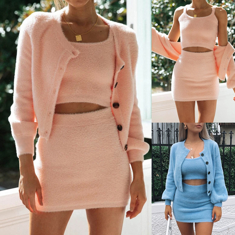 Women Sexy Outfits Fluffy Suits Velvet Plush 3Pcs/Sets Long Sleeve Cardigan Coat+Shorts+Tops Warm Overalls Casual Ladies Sets