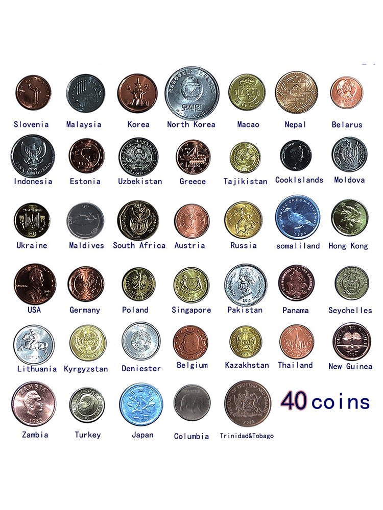 Coin-Unc Genuine-Coins-Collection Real Europe Original World-Africa Lot 40-Different-Countries-Set