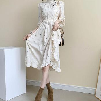 цена на Elegant O-neck ruffle split Printed Women Dress long Sleeve A-line  Female  Dress 2020 Vintage Women Midi Vestidos