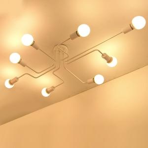 Image 3 - Modern LED Ceiling Chandelier Multiple Rod Wrought Iron Loft E27 Nordic Ceiling Chandeliers For Living Room Bedroom Light lustre