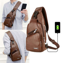 Male Shoulder Bags USB Charging PU Crossbody Bags Men Anti Theft Chest Bag School Summer Short Trip Messengers Bag New Arrival 9(China)