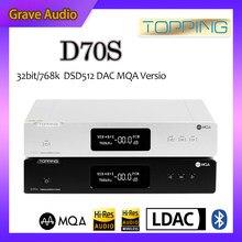 Décodeur TOPPING D70S MQA 2 * AK4497 Bluetooth 5.0 32Bit/768K DSD512 haute résolution USB DAC avec télécommande