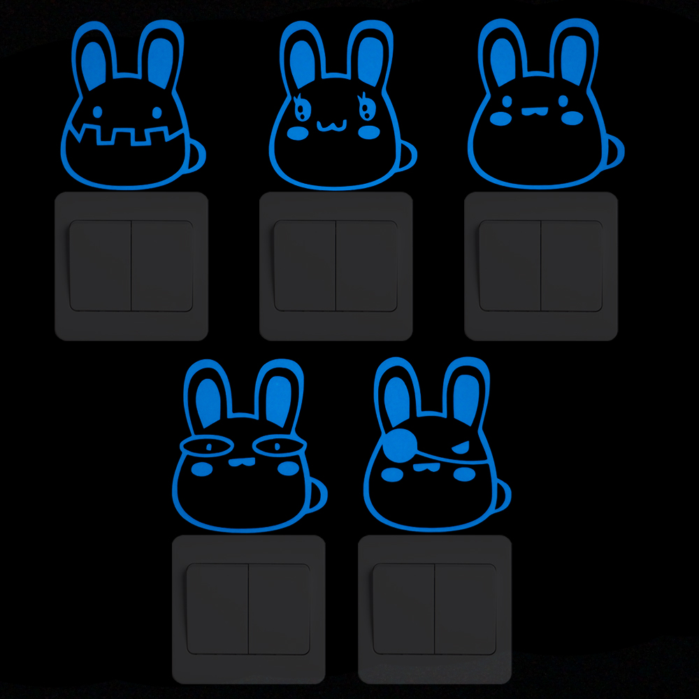 Cute Rabbit Cartoon DIY Animal Luminous Switch Sticker Glow in the Dark Wall Sticker Home Decor Kids Room Decoration Living Room in Wall Stickers from Home Garden