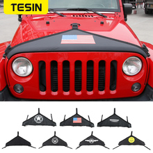 TESIN Canvas Car Front Hood Cover Protector Accessories for Jeep Wrangler JK 2007 Up Black Car Exterior Engine Cover Car Styling