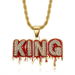 Hip Hop Iced Out Bling Full CZ KING Pendant With Rope Chain Gold Color Stainless Steel Necklaces Men Women Jewelry Dropshipping