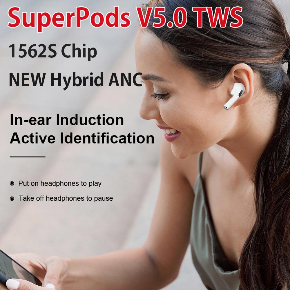 Беспроводные наушники SuperPods V5.0 PK V4.5, новые беспроводные наушники с супер басами, Bluetooth наушники с реальной батареей 7 часов, пространственное...