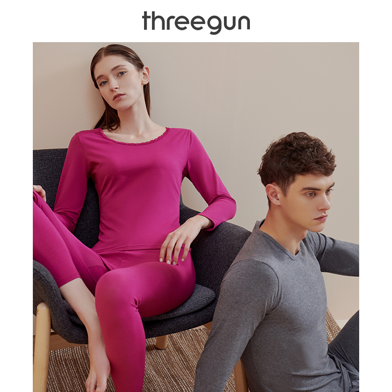 THREEGUN Thermal Underwear Set Men and Women 2019New Lightweight Elastic Soft Cotton Long Johns Round Neck Couple Bottoming Suit