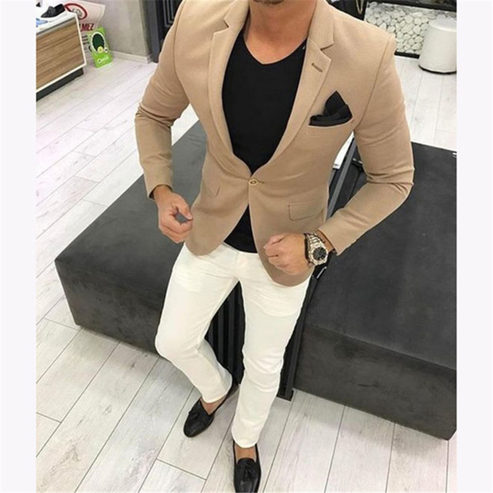 New Men's Suit Smolking Noivo Terno Slim Fit Easculino Evening Suits For Men Khaki Casual Blazer Tuxedo Jackets Strip Prom
