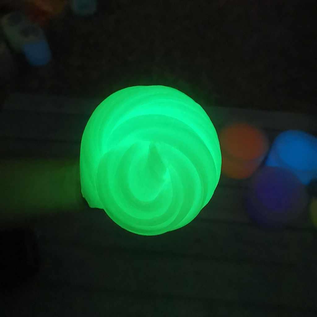 300ml Fluorescerende Slime Filler Poeder Verf Diy Glitter Neon Fosfor Poeder Pigment Shimmer Poeder Glow In Dark Slijm Vulstoffen