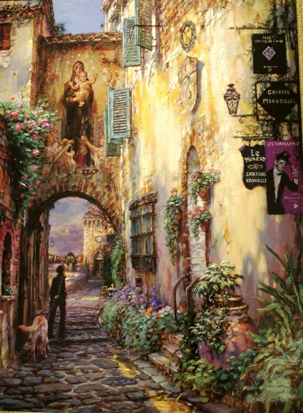 Small town scenery oil painting Art Needlework 14CT Canvas Unprinted Handmade Embroidery Cross Stitch Kits DIY Home Decor image
