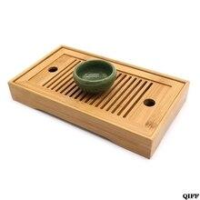Бамбуковые чайные лотки кунг-фу, аксессуары для чая, настольный поднос для чая с сливной стойкой, 27x14x3 см, китайский поднос для подачи чая, набор