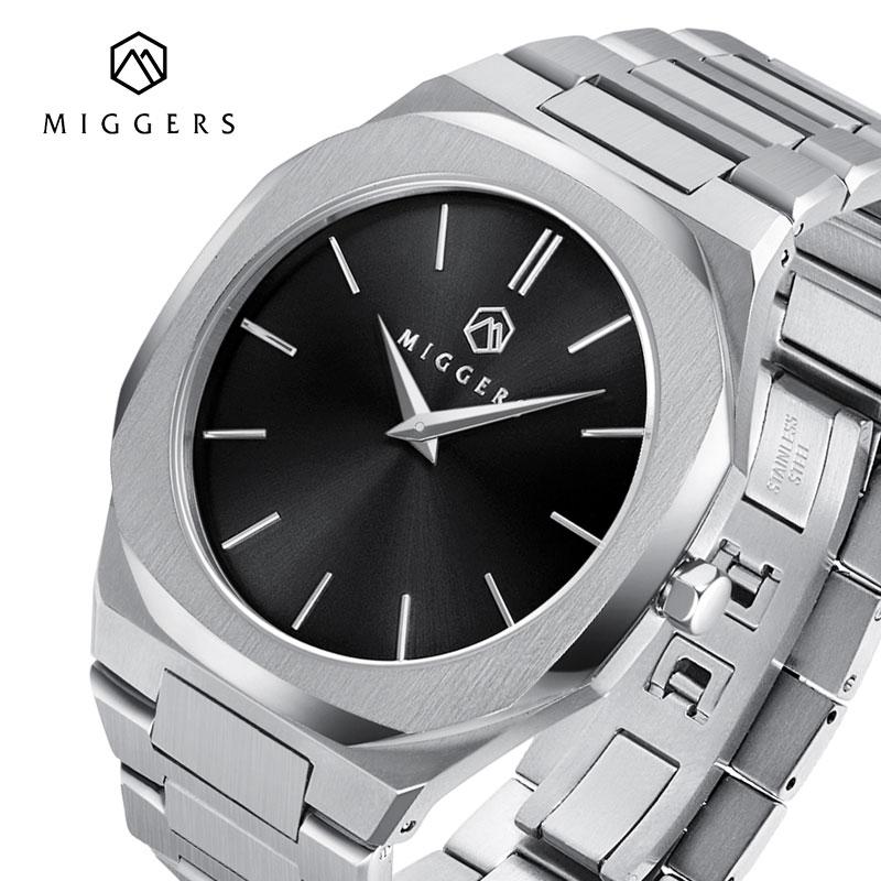 MIGGERS Mens Watches Quartz Minimalist Stainless Steel Business Men Watch Fashion Top Brand Luxury 2020 Waterproof 50m Man Clock
