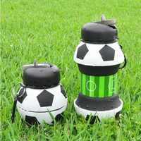 Novedad fútbol deportes botella de agua con paja plegable viaje silicona mis botellas innovadora Camping 550ml H1224