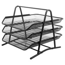 File Tray Three Tier Paper Tray Office Home Iron Desktop Organizer Rack