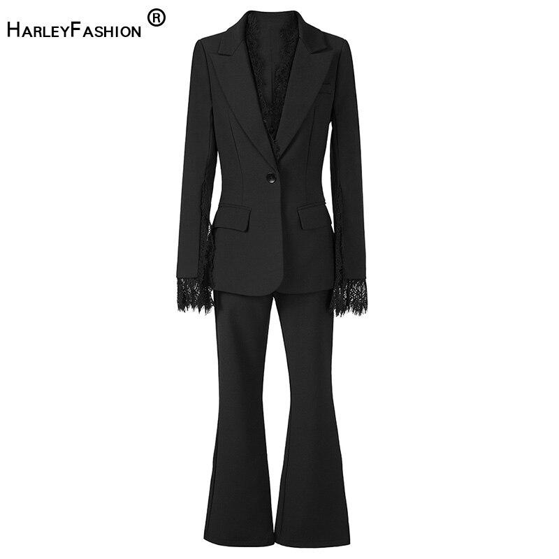 HarleyFashion European Women Design Spring Autumn Fitness Classic Pants Suit Lace Patchwork Blazer Slim Pants Two Pieces Sets