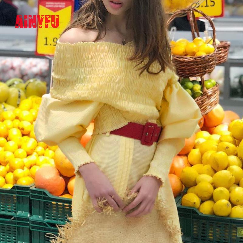 Ainyfu Fall V hals Solid Lange Bubble Mouw T shirt Vrouwen Streetwear Slanke Korte Kleding Femme Vouw Off Shoulder Crop dames Tops - 4