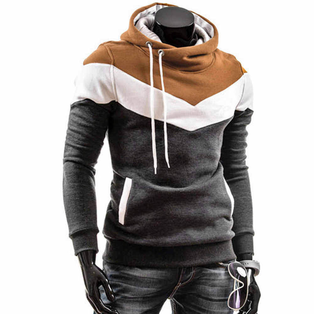 2020 Fashion Autumn Hoodies Men Sweatshirt Male Stitching Hooded Hip Hop Long Sleeve Sweatshirt Men Silm Hoodies Outwear 3XL
