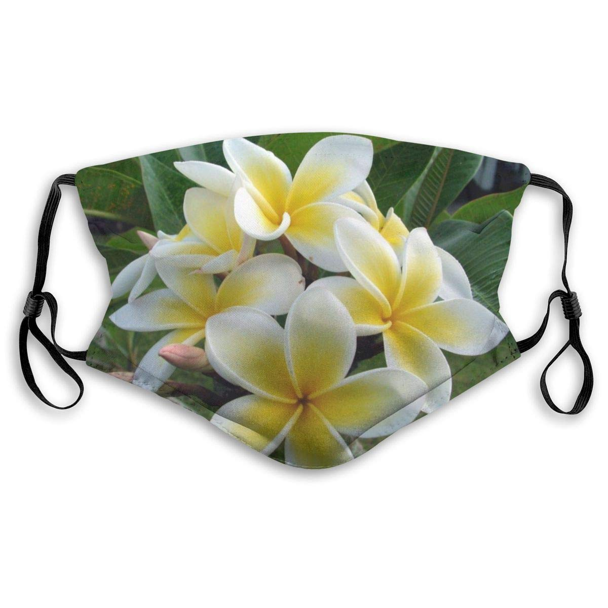 Hawaiian Flower Plumeria Washable Reusable Mask, Anti Dust Half Face Mouth Mask For Kids Teens Men Women With Adjustable Ear