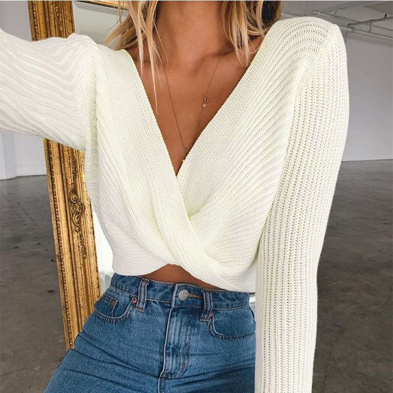 Fashion 2019 Autumn Winter Solid V-Neck Sexy Sweater Short Long Sleeve Pleated Pullover Female Navel Exposed Knitted Sweater