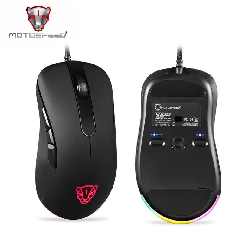 Original Motospeed V100 Professional Wired Optical Gaming Mouse RGB Light Esport Game Computer Mouse USB 6200DPI For PC Laptop