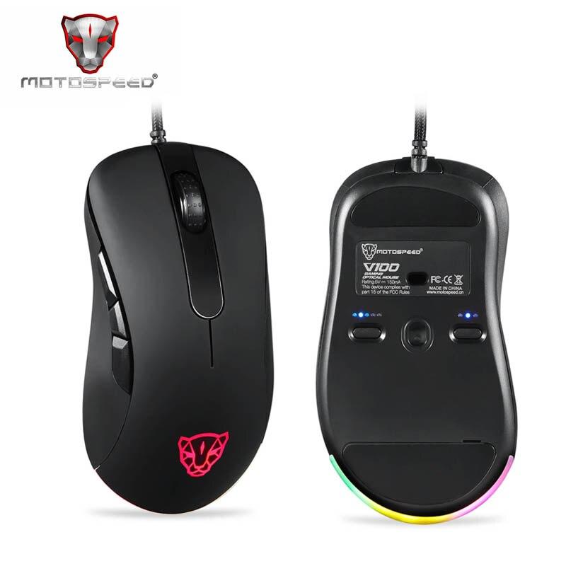 Original Motospeed V100 Profissional Luz RGB Esport Gaming Mouse Óptico com fio Jogo Do Rato Do Computador USB 6200DPI para PC Portátil