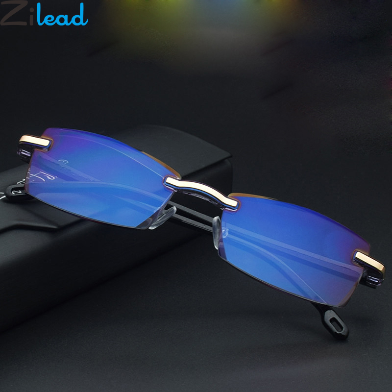 Zilead Frameless Reading Glasses Anti Blue Light Computer Presbyopic Eyeglasses For Women&Men Optical Spectacle Hyperopia Reader