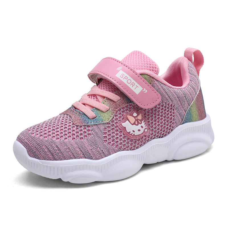 Hello Kitty  Children  Girls Shoes Autumn Children Sport Casual Sneakers High Quality Mesh Shoes For Girls Breathable And Light