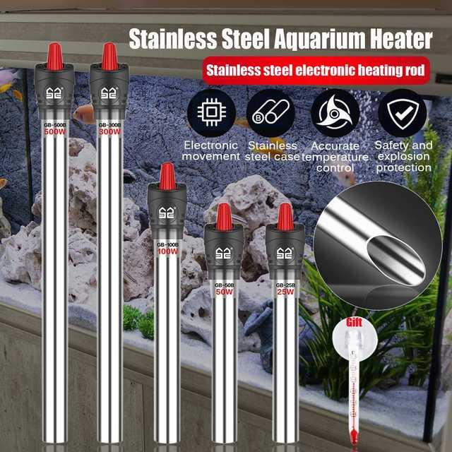 Tige de chauffage Submersible réglable de Thermostat dappareil de chauffage daquarium dacier inoxydable 220V pour laquarium 50W/100W/200W/300W/500W
