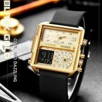 SANDA Platz Männer Uhr 2020 Top Marke Luxus Kreative 3 zeit Display Uhren Für Männer Sport Wasserdicht Leder Uhr reloj hombre