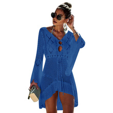 купить 2019 Fashion Dress Women Bikini Cover Up Sexy Knit Beach Dress New Summer Seaside Open Blouse Long Sleeve V-neck Women Clothes дешево
