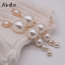 Abdo 2019 New Trendy Elegant Created Big Simulated Pearl Long Earrings Pearls Drop For Wedding Party Gift Wholesale