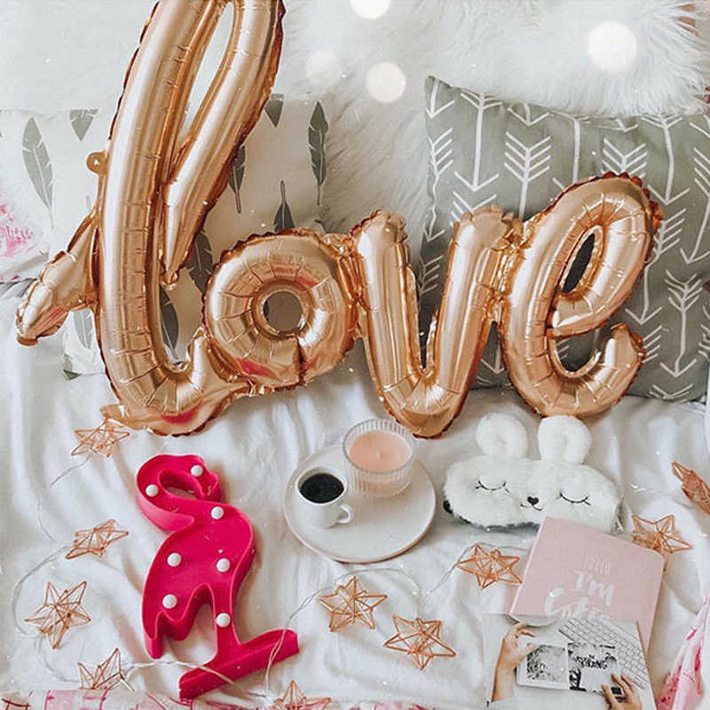 LOVE Letter Foil Balloon Anniversary Wedding Valentines Birthday Party Decoration Champagne Cup Photo Booth Props