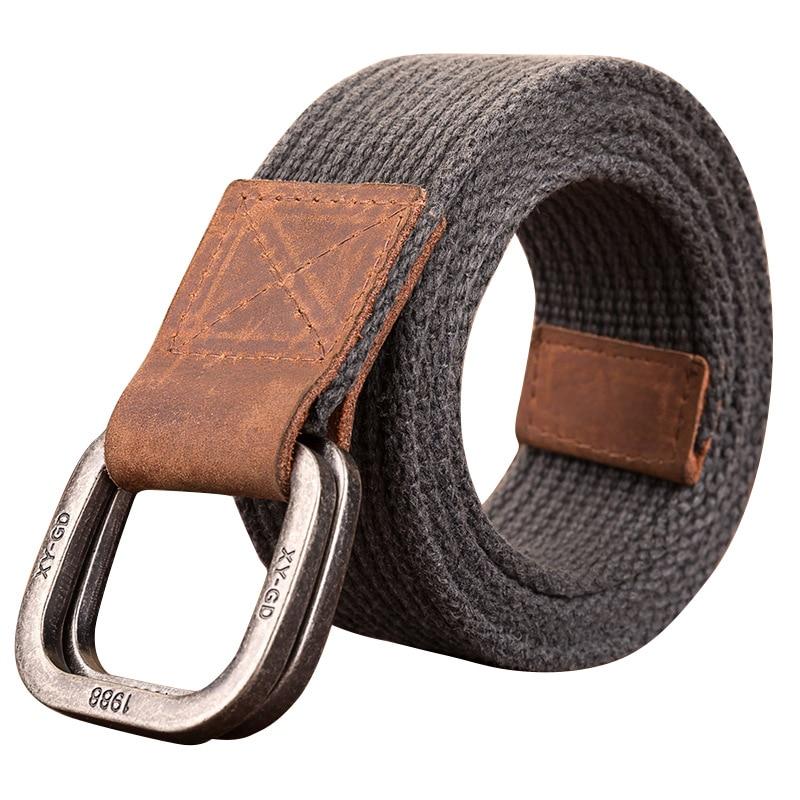 Cinturón de lona de alta calidad para hombres y mujeres, cinturones de lona de ocio juvenil con doble botón de bucle, cinturón Harajuku Cintos Punk
