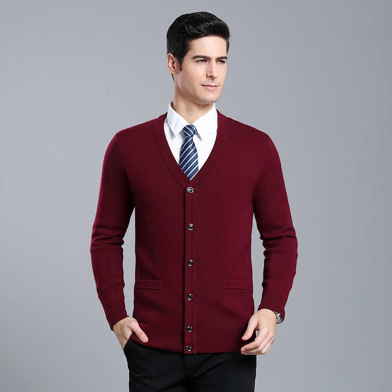 2020 dicke Neue Mode Marke Pullover Männer Strickjacke Hohe-qualität Slim Fit Jumper Strickwaren V-ausschnitt Winter Casual Kleidung männlichen