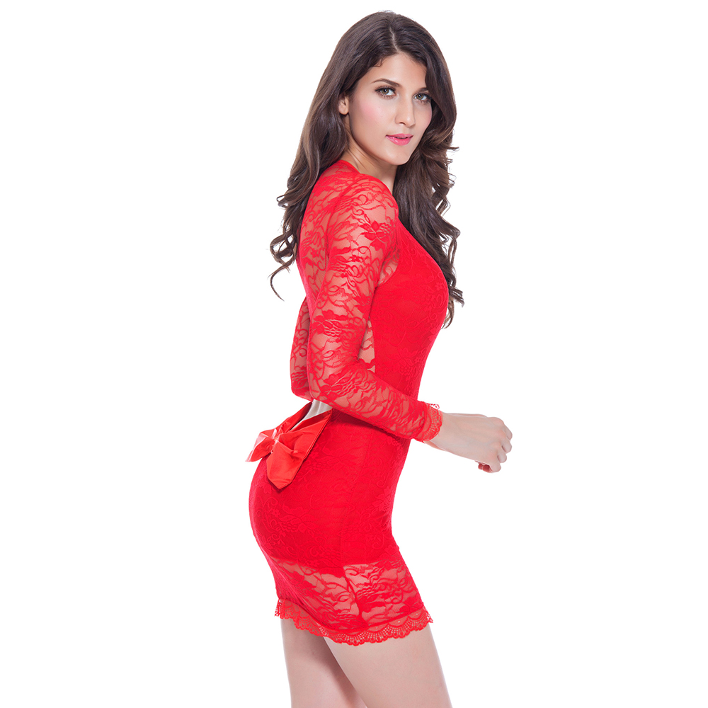 Women Sexy Lace Long Sleeve Bow Mini Party Dress Bodycon Dresses Clubwear Backless Nightclub Outfit Summer Vestidos Clothes