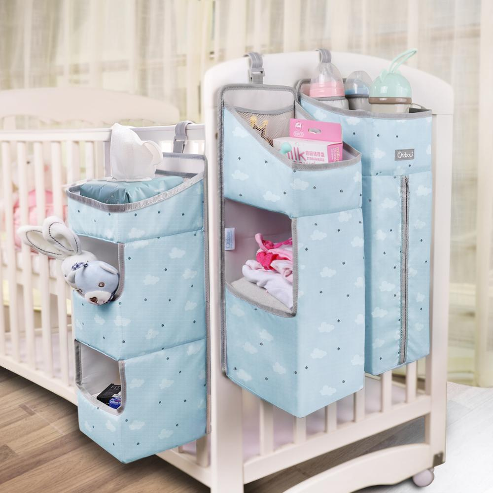 Baby Crib Organizer Portable Hanging Bags For Baby Bed Detachable Diapers Clothes Feeding Bottle Toys Organizer Accessories