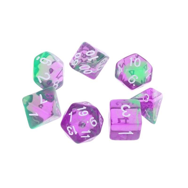 7pcs Transparent Sided Dice D4 D6 D8 D10 D12 D20 Dungeons & Dragon D&D RPG Poly Table Board Game Set