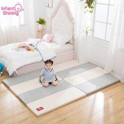Infant Glänzende Baby PlayMat 4CM Dicke Spielen Matte 120X160CM Große Matte Wasserdicht 4-falten Baby Spielen Matte Kinder spiel Matte