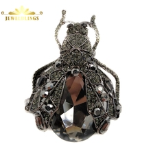 Gothic Vintage Style Full Black Cicada Brooches Silver Tone Micro Pave Crystal Pear Shaped Tail Big Beetle Pins Costume Jewelry