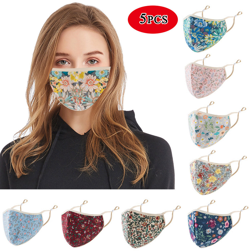 5PCS Adult Floral Print Face Mask For Women Mouth Mask PM2.5 Washable Reusable Mouth Mask Fashion Non-woven Mouth Masks Cover
