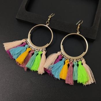 Women's earrings European and American explosions silk tassel earrings Bohemian big circle geometric earrings ladies jewelry 4