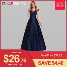 Granatowe satynowe suknie wieczorowe Ever Pretty ep07934nb line dekolt w serek eleganckie formalne długie sukienki Vestidos De Fiesta De Noche 2020