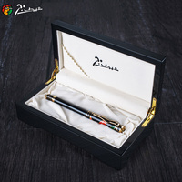 Pimio 80 Luxury 10K Gold Nib Fountain Pen with Gem on The Top with Original Wooden Gift Box Metal Ink Pens Gift Stationery Set