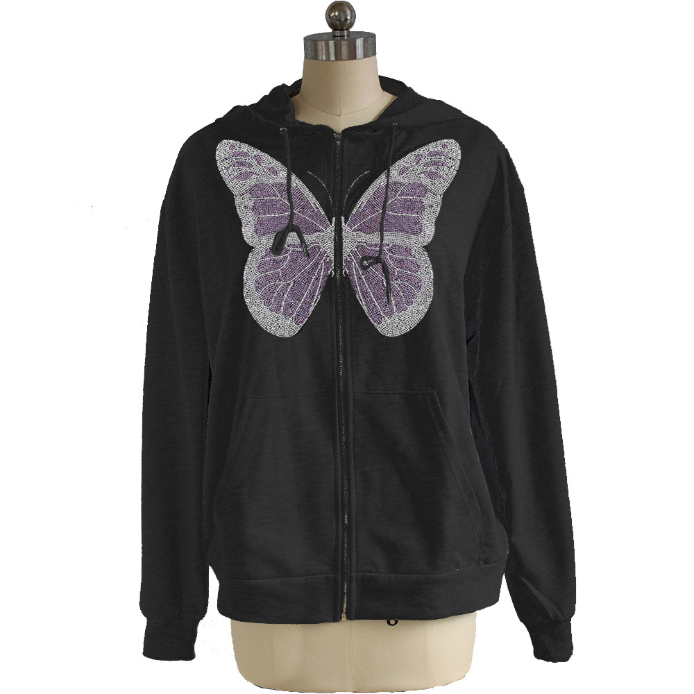 Kawaii Butterfly Zip Up Long Sleeve Summer Sweatshirts 2021 Spring Oversized Hoodies Women Cotton Black Streetwear GrayTops 11