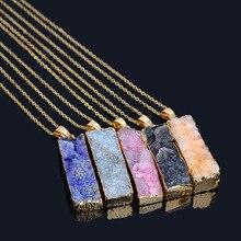 лучшая цена Fashion 6 Colors Natural Stone Rectangular Crystal Quartz Necklaces Chakra Pendant Necklaces Party Long Chain Necklace Jewelry